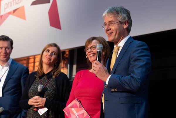 Podium NST PO minister Slob, Vivian Berden en Vincent Moolenaar
